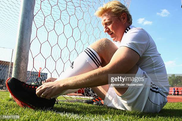 Boris Becker attends the First Liga for Charity soccer match event at Jahnstadium on May 14 2012 in Rosenheim Germany