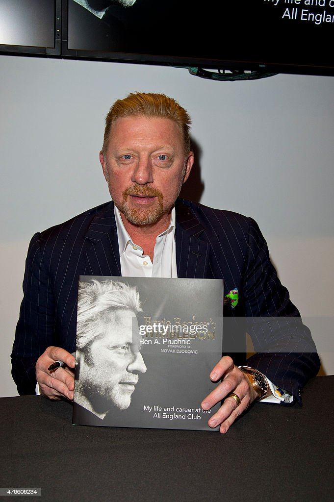 <a gi-track='captionPersonalityLinkClicked' href=/galleries/search?phrase=Boris+Becker&family=editorial&specificpeople=67204 ng-click='$event.stopPropagation()'>Boris Becker</a> attends the launch of his new book <a gi-track='captionPersonalityLinkClicked' href=/galleries/search?phrase=Boris+Becker&family=editorial&specificpeople=67204 ng-click='$event.stopPropagation()'>Boris Becker</a>'s Wimbledon' on June 10, 2015 in London, England.