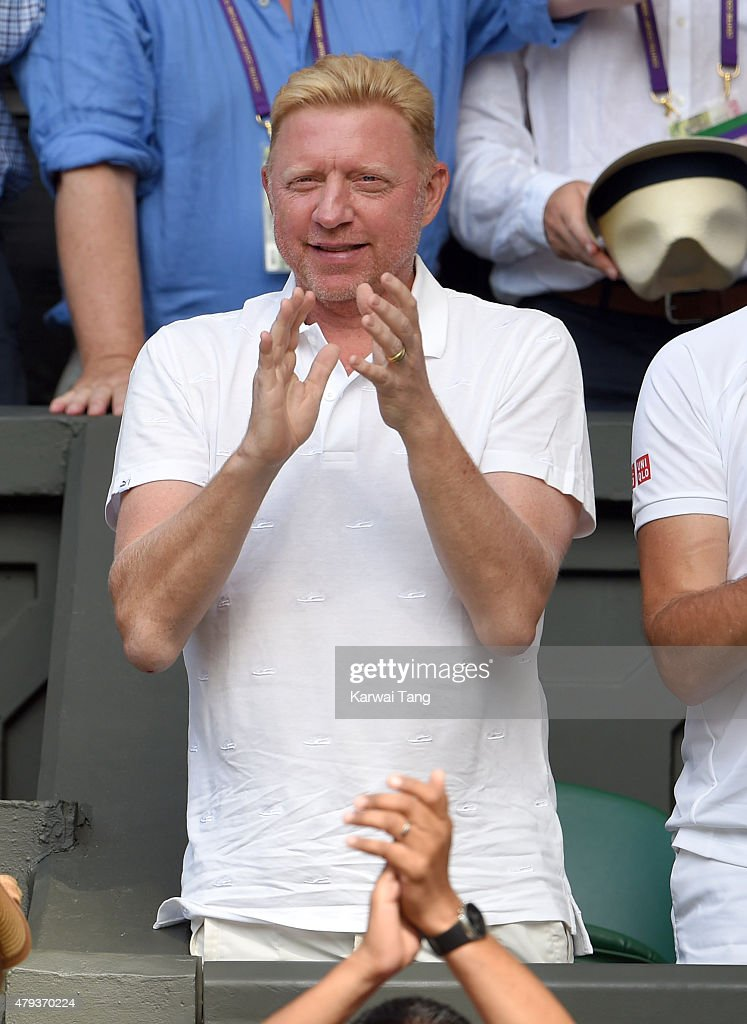 <a gi-track='captionPersonalityLinkClicked' href=/galleries/search?phrase=Boris+Becker&family=editorial&specificpeople=67204 ng-click='$event.stopPropagation()'>Boris Becker</a> attends the Novak Djokovic v Bernard Tomic match on day five of the annual Wimbledon Tennis Championships at Wimbledon on July 3, 2015 in London, England.