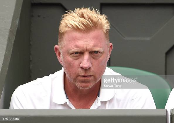 Boris Becker attends the Novak Djokovic v Jarkko Nieminen match on day three of the Wimbledon Tennis Championships at Wimbledon on July 1 2015 in...