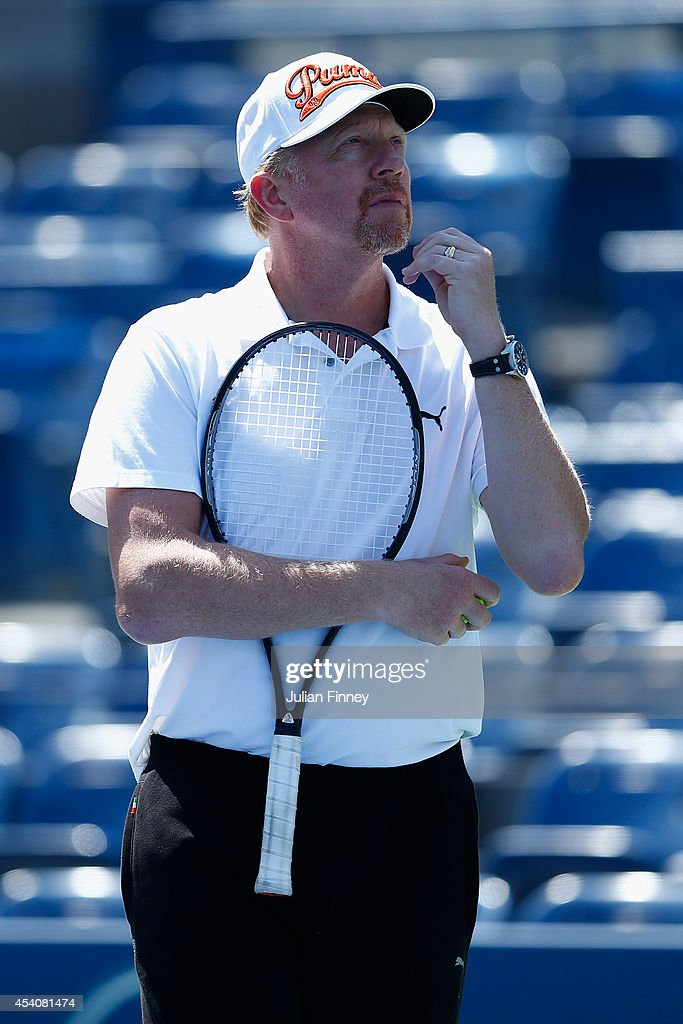 <a gi-track='captionPersonalityLinkClicked' href=/galleries/search?phrase=Boris+Becker&family=editorial&specificpeople=67204 ng-click='$event.stopPropagation()'>Boris Becker</a>, coach of Novak Djokovic looks on during previews for the US Open tennis at USTA Billie Jean King National Tennis Center on August 24, 2014 in New York City.