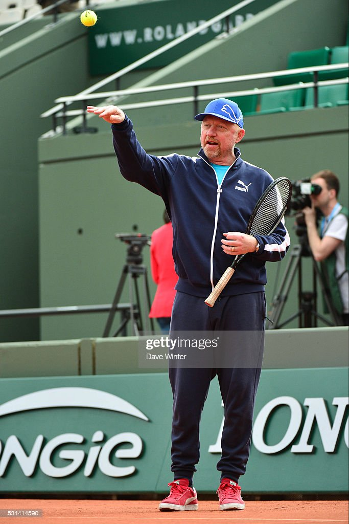 Boris Becker during the training on day five of the French Open 2016 at Roland Garros on May 26, 2016 in Paris, France.