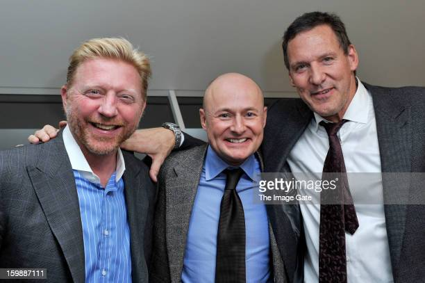 Boris Becker Georges Kern and Ralf Moeller visit the IWC booth during the Salon International de la Haute Horlogerie 2013 at Palexpo on January 22...