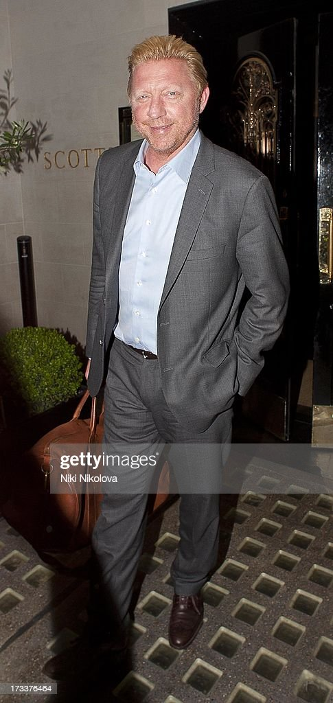 Boris Becker leaving Scotts Restaurant, Mayfair on July 12, 2013 in London, England.