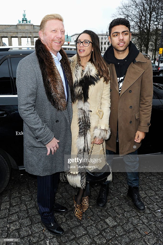 Boris Becker, Lilly Becker and Noah Becker attend Zoe Ona Autumn/Winter 2013/14 fashion show during Mercedes-Benz Fashion Week Berlin at Brandenburg Gate on January 18, 2013 in Berlin, Germany.
