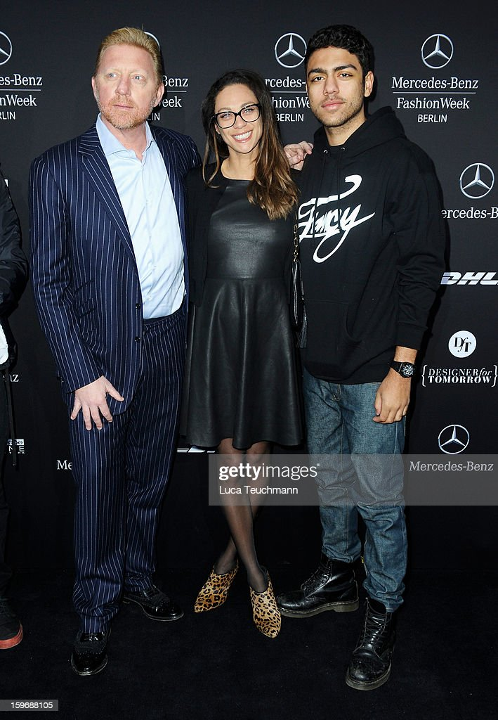 <a gi-track='captionPersonalityLinkClicked' href=/galleries/search?phrase=Boris+Becker&family=editorial&specificpeople=67204 ng-click='$event.stopPropagation()'>Boris Becker</a>, Lilly Becker and <a gi-track='captionPersonalityLinkClicked' href=/galleries/search?phrase=Noah+Becker&family=editorial&specificpeople=2316372 ng-click='$event.stopPropagation()'>Noah Becker</a> attend Zoe Ona Autumn/Winter 2013/14 fashion show during Mercedes-Benz Fashion Week Berlin at Brandenburg Gate on January 18, 2013 in Berlin, Germany.