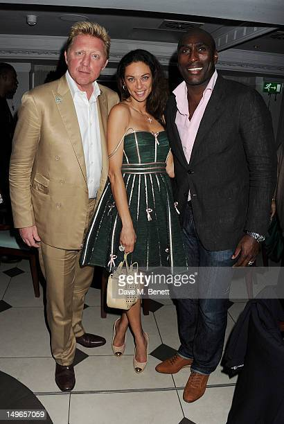 Boris Becker Lilly Becker and Sol Campbell attend a private dinner hosted by Rachael Barrett celebrating Jamaica's Emancipation Day at Embassy London...