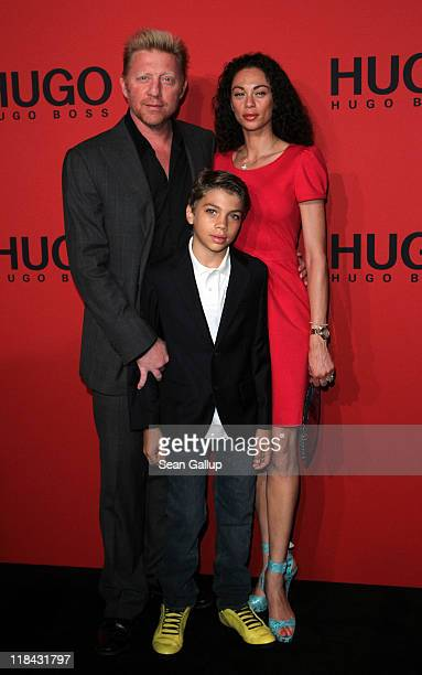 Boris Becker Lilly Becker and son Elias Becker attend the Hugo Show during MercedesBenz Fashion Week Berlin Spring/Summer 2012 at the Forum...