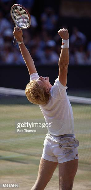 Boris Becker of Germany after winning the men's singles final of the Wimbledon Lawn Tennis Championships held at the All England Club in London...
