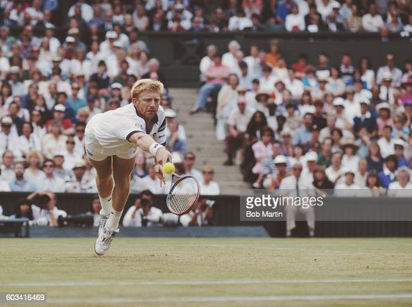 Boris Becker of Germany dives to make a return during the Men's Singles Semi Final of the Wimbledon Lawn Tennis Championship against Goran Ivanisevic...