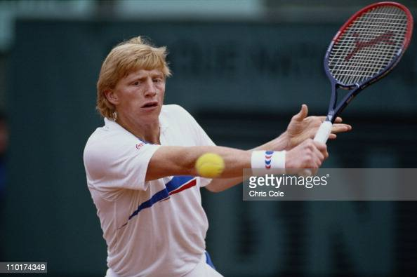 Boris Becker of Germany during a Men's Singles semi final match against Mats Wilander at the French Open Tennis Championship on 5th June 1987 at the...