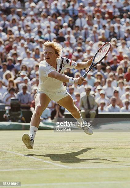 Boris Becker of Germany during the Men's Singles Final of the Wimbledon Lawn Tennis Championship against Stefan Edberg on 8 July 1990 at the All...