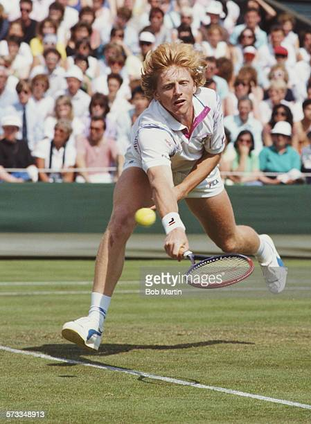 Boris Becker of Germany during the Men's Singles Final of the Wimbledon Lawn Tennis Championship against Stefan Edberg on 4 July 1988 at the All...