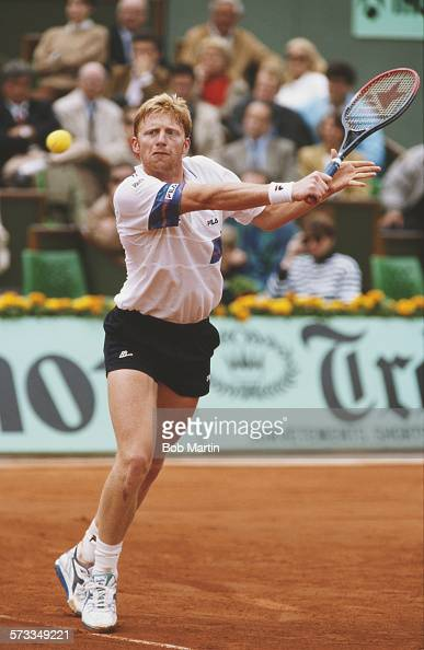 Boris Becker of Germany during the Men's Singles semi final match against Andre Agassiduring the French Open Tennis Championship on 7 June 1991 at...