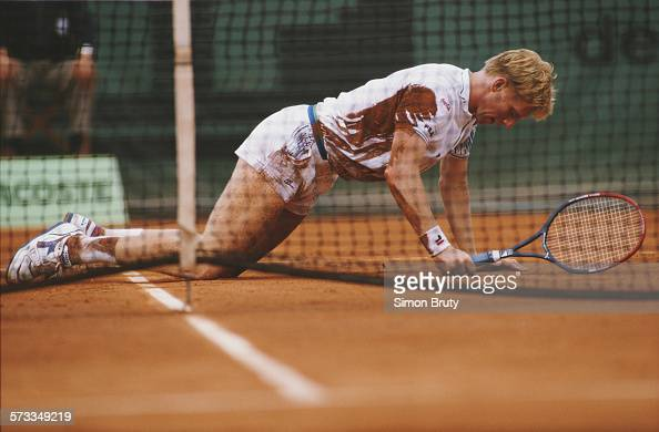 Boris Becker of Germany picks himself up from the clay court surface during a Men's Singles match at the French Open Tennis Championship on 29 May...