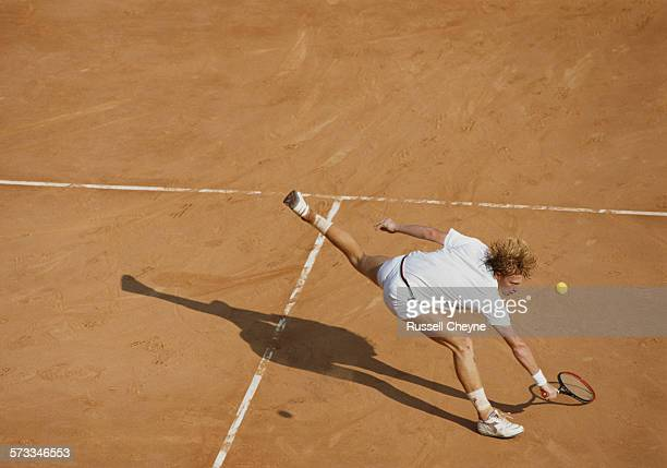 Boris Becker of Germany serves during a Men's Singles match during the Monte Carlo Open Tennis Championship on 25 April 1990 at the Monte Carlo...