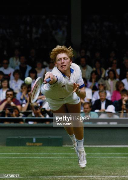 Boris Becker of Germany stretches to make a diving backhand return from Anders Jarryd during the Men's singles semi final of the Wimbledon Lawn...