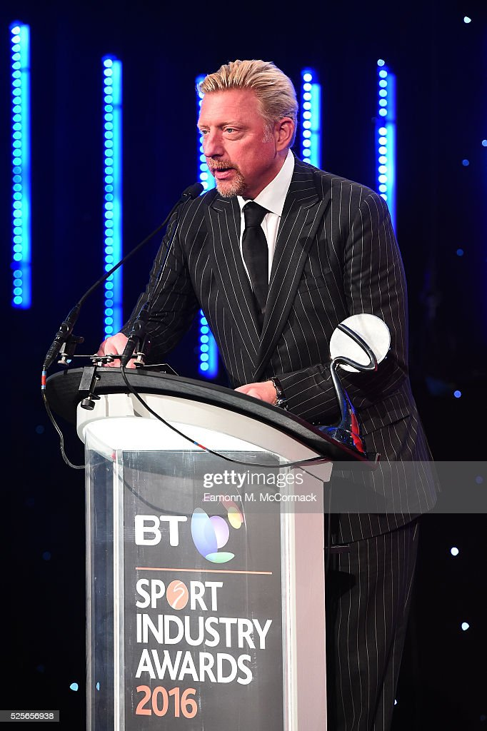 Boris Becker presents the Best Sponsorship of a team or individual to O2 England Rugby Wear the Rose at the BT Sport Industry Awards 2016 at Battersea Evolution on April 28, 2016 in London, England. The BT Sport Industry Awards is the most prestigious commercial sports awards ceremony in Europe, where over 1750 of the industry's key decision-makers mix with high profile sporting celebrities for the most important networking occasion in the sport business calendar.