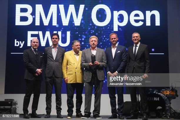 Boris Becker receives the Iphitos Award 2017 with Matthias Sammer Peter Bosch Manfred Duerrheimer Peter van Binsbergen and Fabian Tross during the...