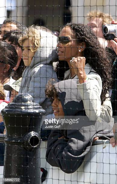 Boris Becker Takes Part In The Ariel Celebrity Tennis Match In London'S Trafalgar Square Watched By ExWife Barbara And Sons Noah Elias