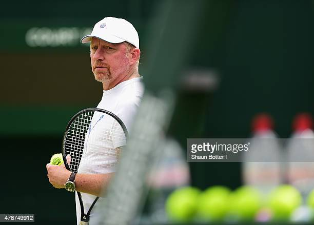Boris Becker the coach of Novak Djokovic during a pratice session prior to the Wimbledon Lawn Tennis Championships at the All England Lawn Tennis and...