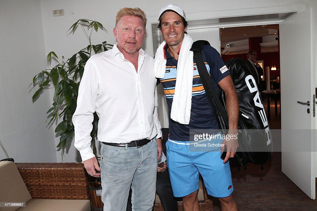 Boris Becker Tommy Haas during the '100 Jahre Internationale Tennismeisterschaften von Bayern' Gala Evening on April 27 2015 in Munich Germany