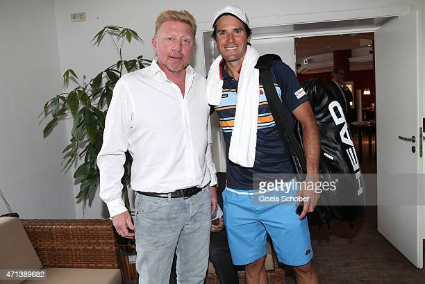 Boris Becker Tommy Haas during the '100 Jahre Internationale Tennismeisterschaften von Bayern' Gala Evening on April 27 2015 in Munich Germany