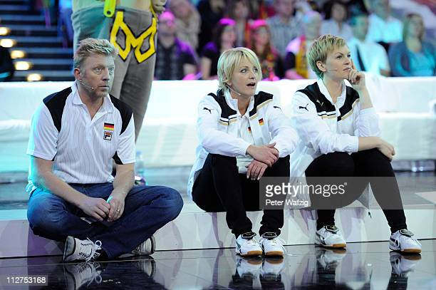 Boris Becker Ulla Kock am Brink and Karen Heinrichs watch their team members playing boccia during the 'Deutschland Gegen Italien' TV Show on April...