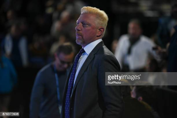 Boris Becker watches on during day eight of the 2017 Nitto ATP World Tour Finals at O2 Arena on November 19 2017 in London England