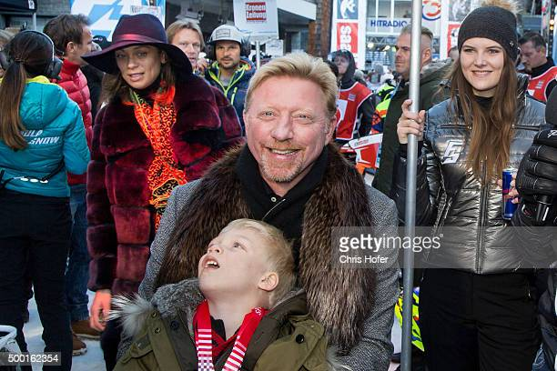 Boris Becker with his son Amadeus and wife Lilly Becker during the third and final day of the Formula Snow 2015 ski opening on December 5 2015 in...