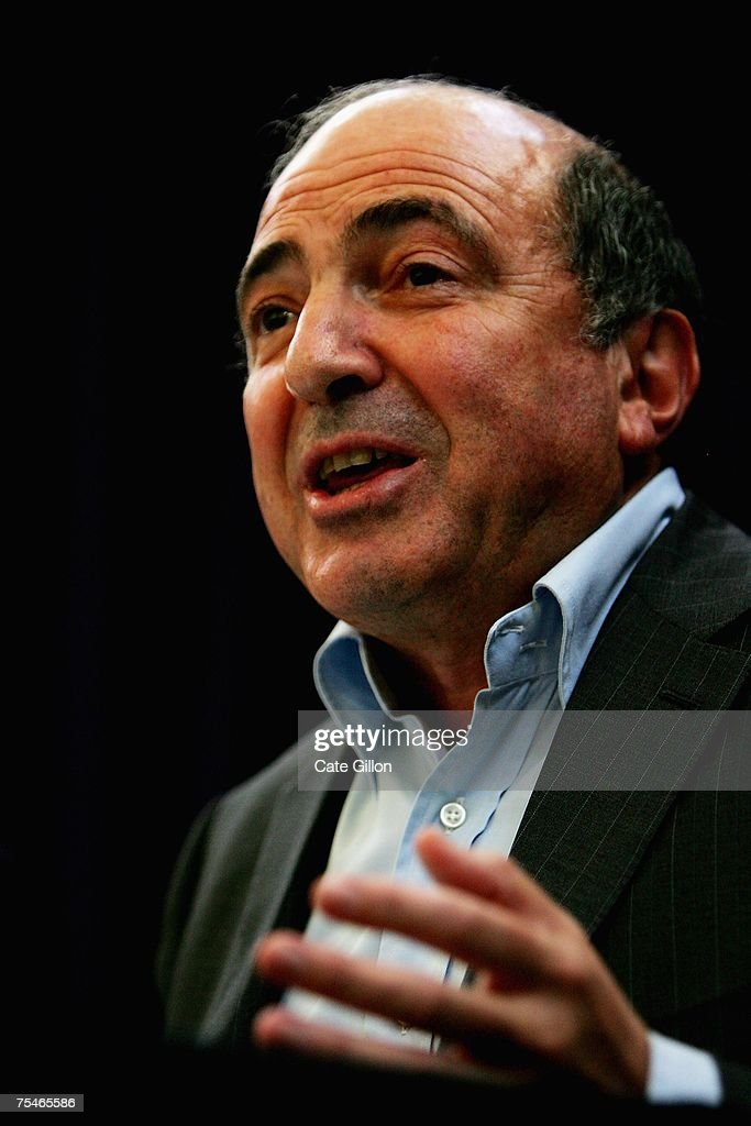Boris Berezovsky gives a statement to the press at the RUSI on July 18 2007 in London, England. Berezovsky says British police advised him three weeks ago to leave the country as they believed his life was under threat from a Russian assassin. The British police have now advised Berezovsky it is now safe to come back to Britain.