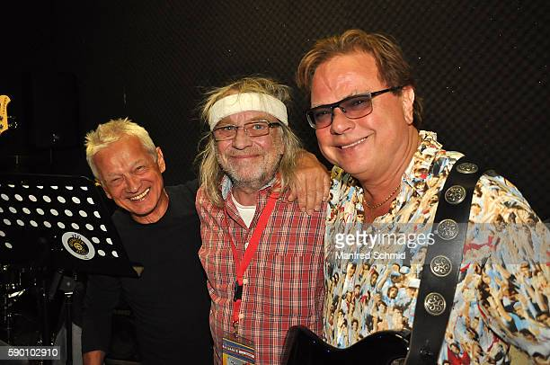 Boris Bukowski Schiffkowitz and Ewald Pfleger poses for a photograph for the upcoming Hafen Open Air Vienna Festival on August 12 2016 in Vienna...
