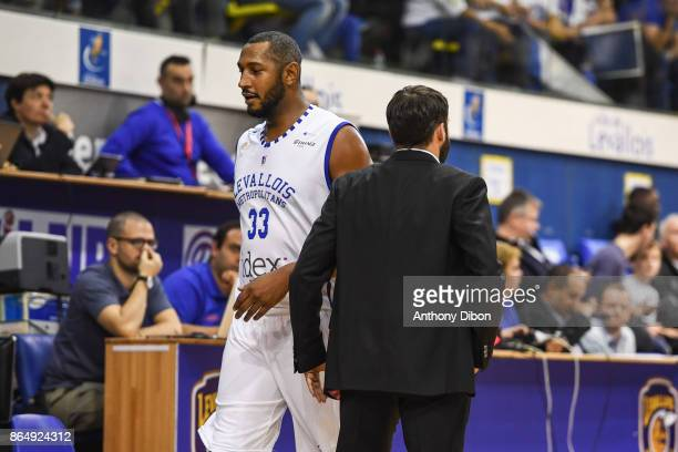 Boris Diaw and Frederic Fauthoux coach of Levallois during the Pro A match between Levallois Metropolitans and Boulazac at Salle Marcel Cerdan on...