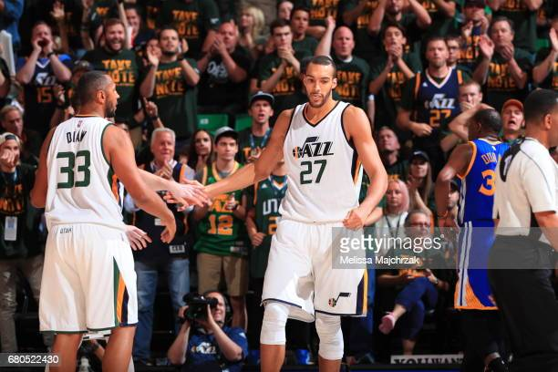 Boris Diaw and Rudy Gobert of the Utah Jazz are seen against the Golden State Warriors in Game Four of the Western Conference Semifinals of the 2017...