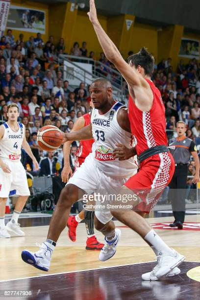 Boris Diaw of France is at the basket against Dario Saric of Croatia during the international friendly game between France and Croatia at Palais des...