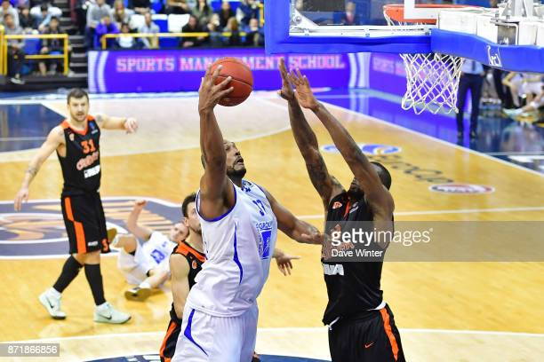 Boris Diaw of Levallois and Demetris Nichols of Cedevita Zagreb during the EuropCup match between Levallois Metropolitans and Cedevita Zagreb at...
