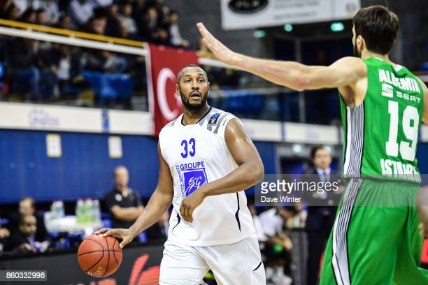 Boris Diaw of Levallois and Furkan Aldemir of Darussafaka Dogus Istabul during the EuropCup match between Levallois Metropolitans and Darussafaka...