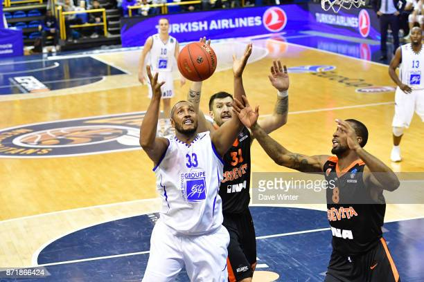 Boris Diaw of Levallois Andrija Stipanovic of Cedevita Zagreb and Demetris Nichols of Cedevita Zagreb during the EuropCup match between Levallois...