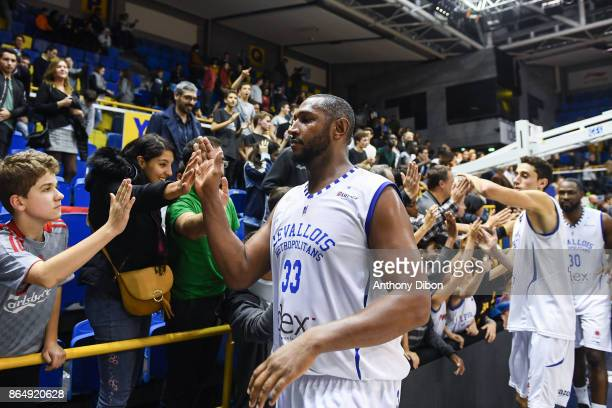 Boris Diaw of Levallois shakes hand with fans during the Pro A match between Levallois Metropolitans and Boulazac at Salle Marcel Cerdan on October...