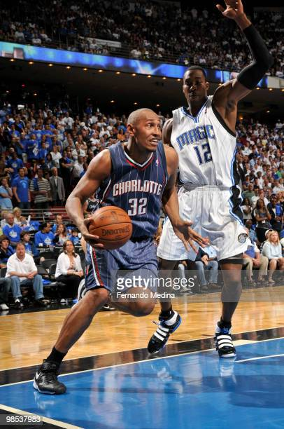 Boris Diaw of the Charlotte Bobcats drives past Dwight Howard of the Orlando Magic in Game One of the Eastern Conference Quarterfinals during the...