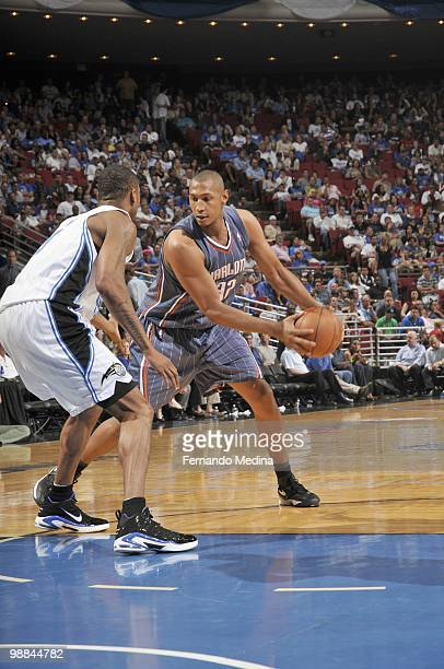 Boris Diaw of the Charlotte Bobcats looks to move the ball against the Orlando Magic in Game Two of the Eastern Conference Quarterfinals during the...