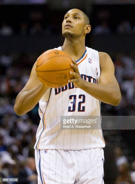 Boris Diaw of the Charlotte Bobcats shoots a free throw against the Orlando Magic at Time Warner Cable Arena on April 26 2010 in Charlotte North...