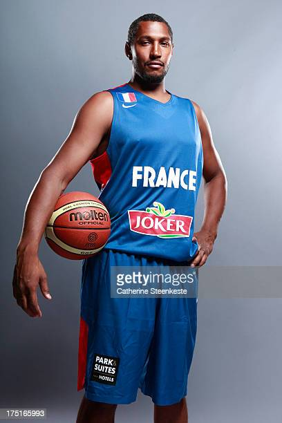 Boris Diaw of the French Men's National basketball team poses for a portrait during the team's annual studio shoot at INSEP on July 22 2013 in Paris...