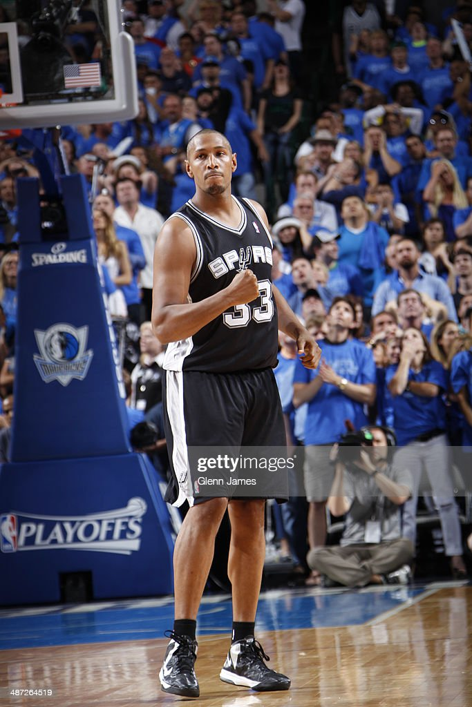 <a gi-track='captionPersonalityLinkClicked' href=/galleries/search?phrase=Boris+Diaw&family=editorial&specificpeople=201505 ng-click='$event.stopPropagation()'>Boris Diaw</a> #33 of the San Antonio Spurs celebrates in Game Four of the Western Conference Quarterfinals against the Dallas Mavericks during the 2014 NBA Playoffs on April 28, 2014 at the American Airlines Center in Dallas, Texas.