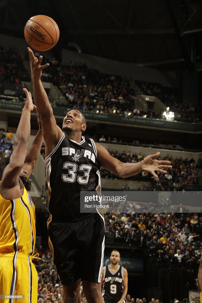 <a gi-track='captionPersonalityLinkClicked' href=/galleries/search?phrase=Boris+Diaw&family=editorial&specificpeople=201505 ng-click='$event.stopPropagation()'>Boris Diaw</a> #33 of the San Antonio Spurs goes for the easy bucket vs the Indiana Pacers on November 23, 2012 at Bankers Life Fieldhouse in Indianapolis, Indiana.