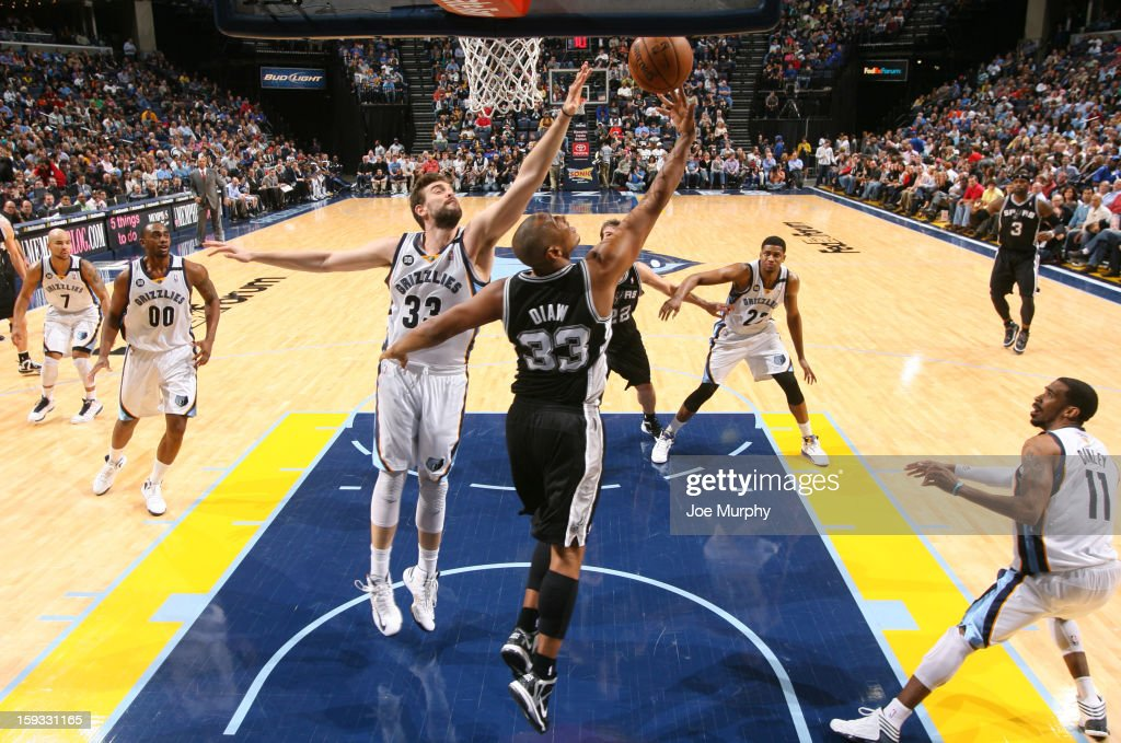 <a gi-track='captionPersonalityLinkClicked' href=/galleries/search?phrase=Boris+Diaw&family=editorial&specificpeople=201505 ng-click='$event.stopPropagation()'>Boris Diaw</a> #33 of the San Antonio Spurs shoots a reverse layup against <a gi-track='captionPersonalityLinkClicked' href=/galleries/search?phrase=Marc+Gasol&family=editorial&specificpeople=661205 ng-click='$event.stopPropagation()'>Marc Gasol</a> #33 of the Memphis Grizzlies of the San Antonio Spurs on January 11, 2013 at FedExForum in Memphis, Tennessee.
