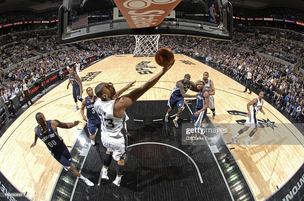<a gi-track='captionPersonalityLinkClicked' href=/galleries/search?phrase=Boris+Diaw&family=editorial&specificpeople=201505 ng-click='$event.stopPropagation()'>Boris Diaw</a> #33 of the San Antonio Spurs shoots a reverse layup against the Memphis Grizzlies on January 16, 2013 at the AT&T Center in San Antonio, Texas.
