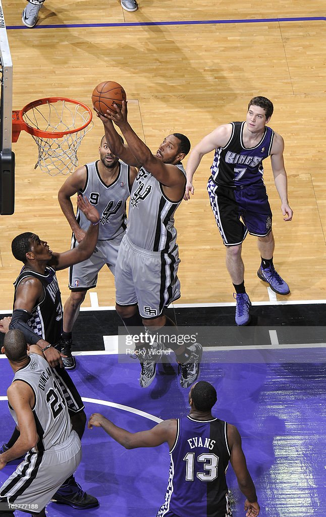 Boris Diaw #33 of the San Antonio Spurs shoots against Jason Thompson #34 of the Sacramento Kings on February 19, 2013 at Sleep Train Arena in Sacramento, California.