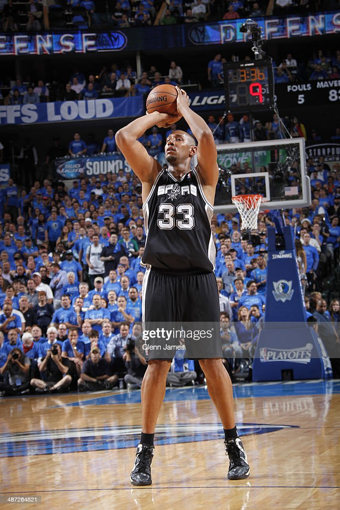 <a gi-track='captionPersonalityLinkClicked' href=/galleries/search?phrase=Boris+Diaw&family=editorial&specificpeople=201505 ng-click='$event.stopPropagation()'>Boris Diaw</a> #33 of the San Antonio Spurs shoots against the Dallas Mavericks in Game Four of the Western Conference Quarterfinals during the 2014 NBA Playoffs on April 28, 2014 at the American Airlines Center in Dallas, Texas.