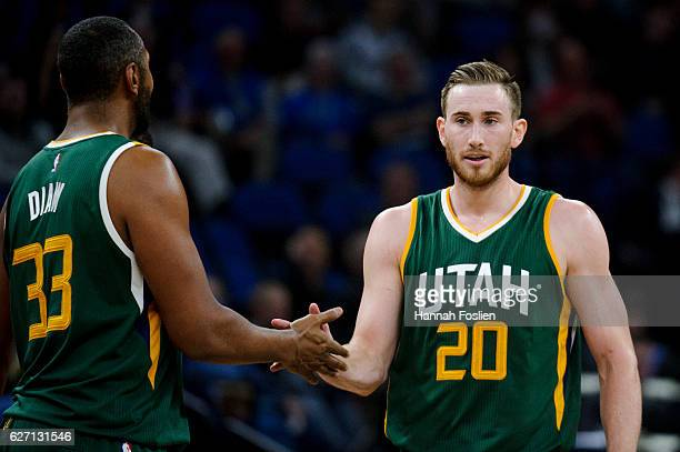 Boris Diaw of the Utah Jazz congratulates teammate Gordon Hayward during the game against the Minnesota Timberwolves on November 28 2016 at Target...